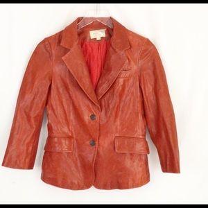 Elizabeth & James Red Leather Blazer Jacket Sz 6